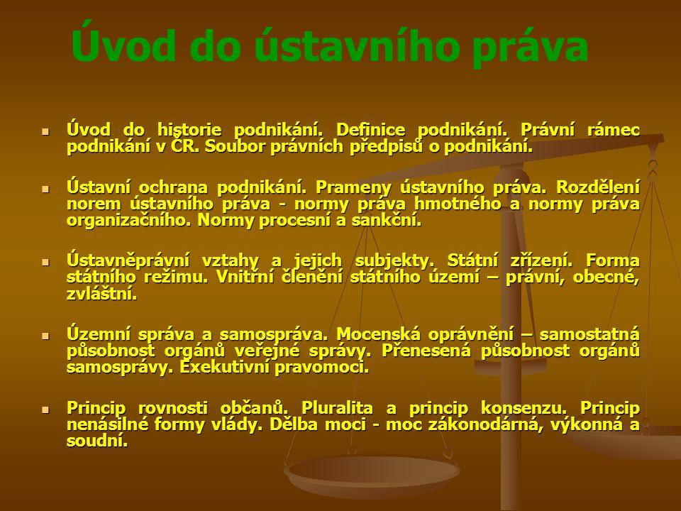 Úvod do ústavního práva Rozdělení ústavních zákonů, zákonů a podzákonných předpisů.