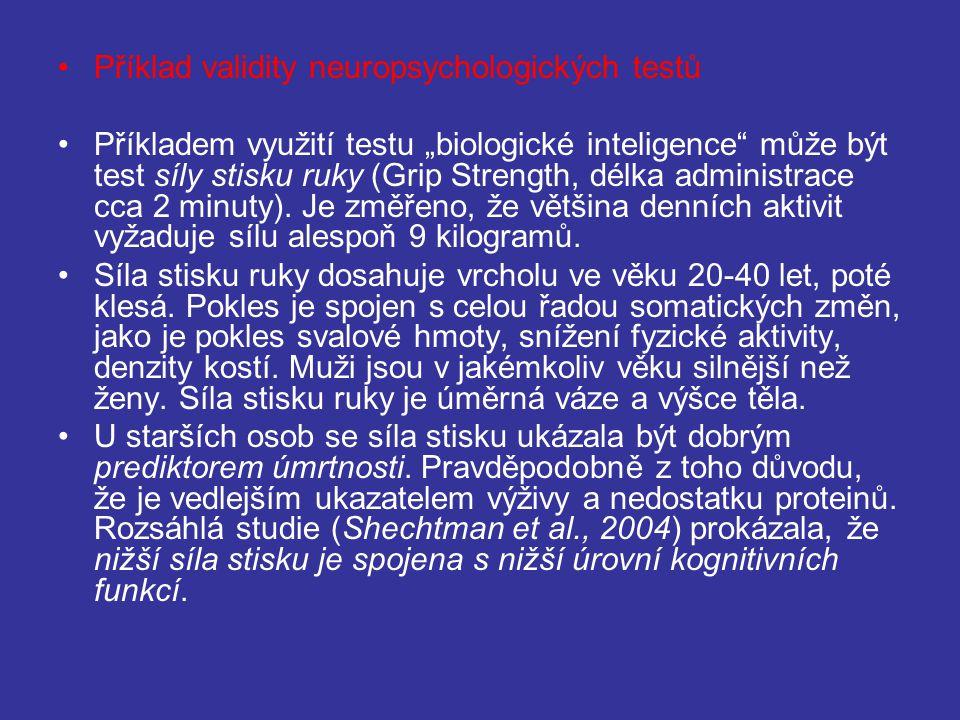 """Příklad validity neuropsychologických testů Příkladem využití testu """"biologické inteligence může být test síly stisku ruky (Grip Strength, délka administrace cca 2 minuty)."""