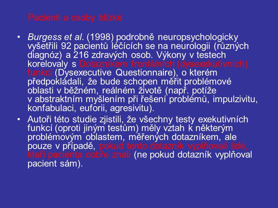 Burgess et al. (1998) podrobně neuropsychologicky vyšetřili 92 pacientů léčících se na neurologii (různých diagnóz) a 216 zdravých osob. Výkony v test