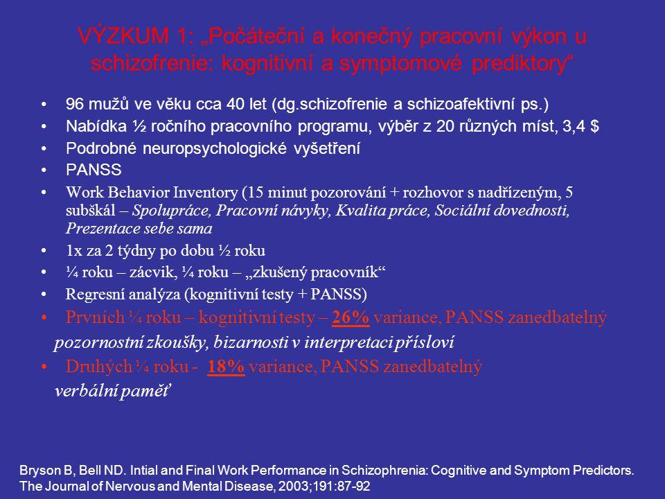 """VÝZKUM 1: """"Počáteční a konečný pracovní výkon u schizofrenie: kognitivní a symptomové prediktory"""" 96 mužů ve věku cca 40 let (dg.schizofrenie a schizo"""