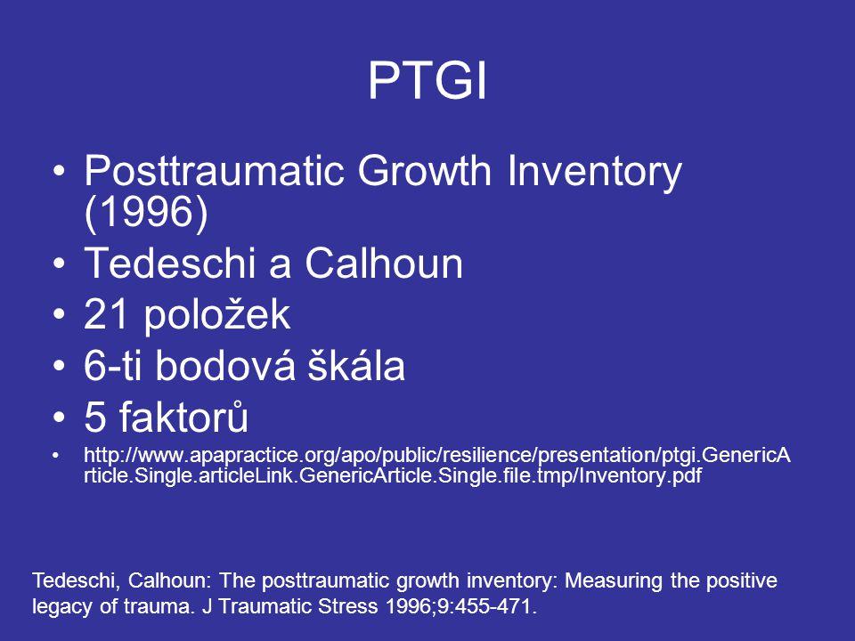 PTGI Posttraumatic Growth Inventory (1996) Tedeschi a Calhoun 21 položek 6-ti bodová škála 5 faktorů http://www.apapractice.org/apo/public/resilience/