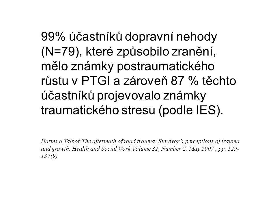 99% účastníků dopravní nehody (N=79), které způsobilo zranění, mělo známky postraumatického růstu v PTGI a zároveň 87 % těchto účastníků projevovalo z