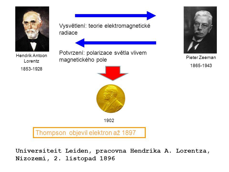 Universiteit Leiden, pracovna Hendrika A. Lorentza, Nizozemí, 2. listopad 1896 Pieter Zeeman 1865-1943 Hendrik Antoon Lorentz 1853-1928 Vysvětlení: te
