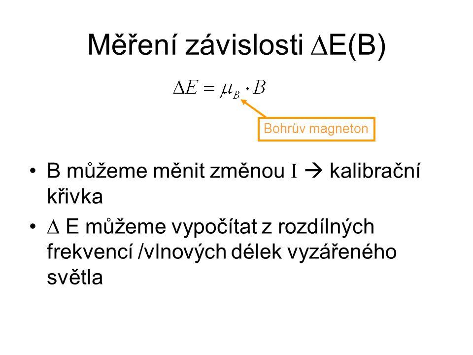 Měření závislosti ∆E(B) B můžeme měnit změnou I  kalibrační křivka ∆ E můžeme vypočítat z rozdílných frekvencí /vlnových délek vyzářeného světla Bohr