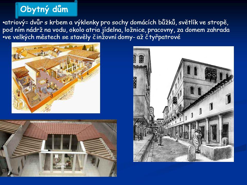 atriový= dvůr s krbem a výklenky pro sochy domácích bůžků, světlík ve stropě, pod ním nádrž na vodu, okolo atria jídelna, ložnice, pracovny, za domem zahrada ve velkých městech se stavěly činžovní domy- až čtyřpatrové Obytný dům