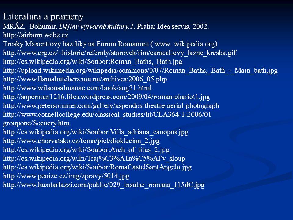 Literatura a prameny MRÁZ, Bohumír.Dějiny výtvarné kultury.1.