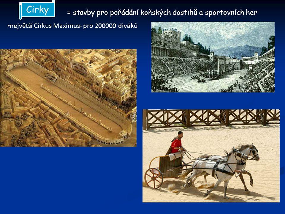 = stavby pro pořádání koňských dostihů a sportovních her největší Cirkus Maximus- pro 200000 diváků Cirky