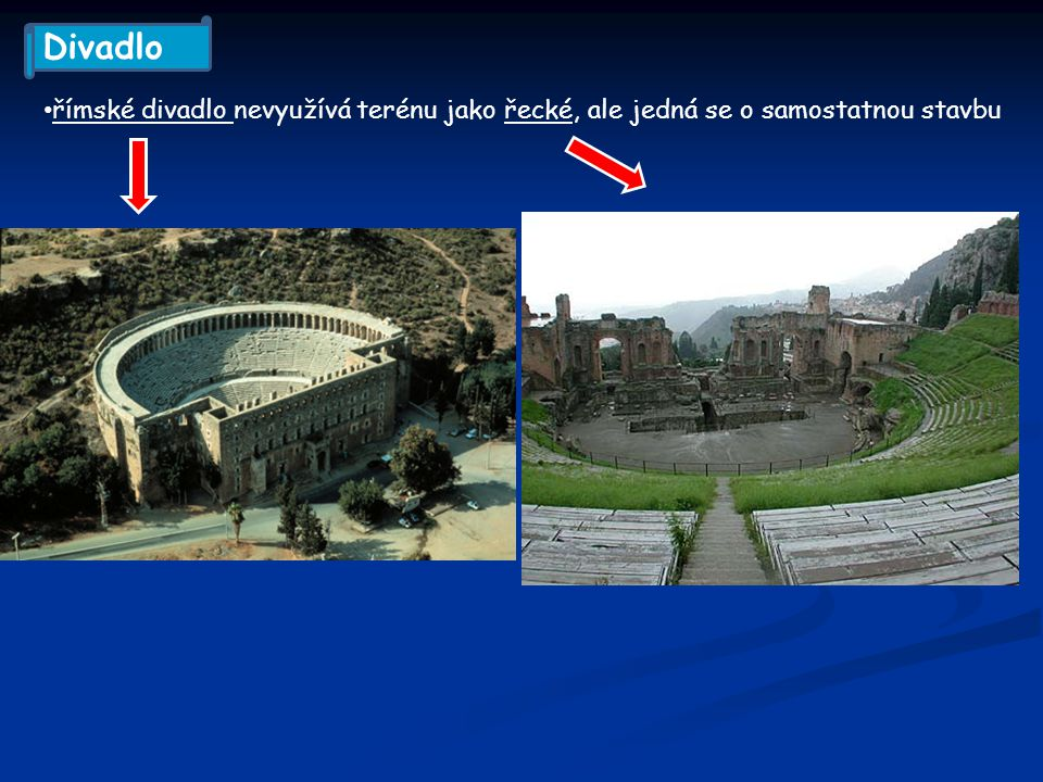 římské divadlo nevyužívá terénu jako řecké, ale jedná se o samostatnou stavbu Divadlo