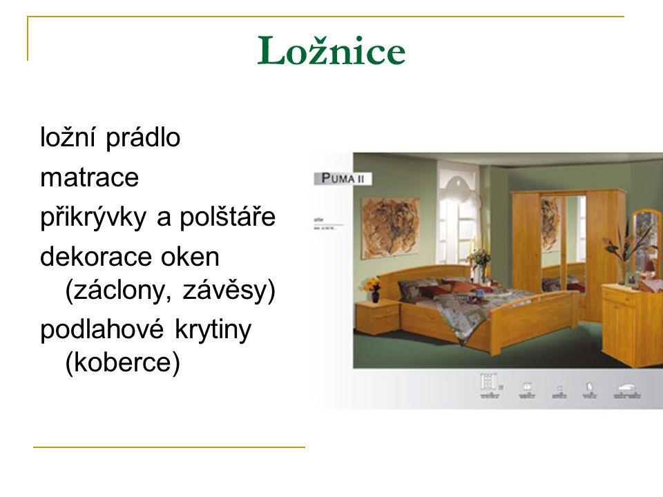 Ložnice ložní prádlo matrace přikrývky a polštáře dekorace oken (záclony, závěsy) podlahové krytiny (koberce)