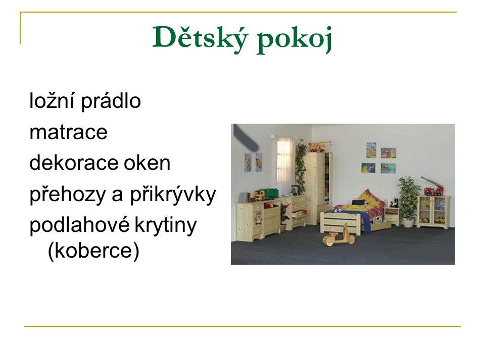 Dětský pokoj ložní prádlo matrace dekorace oken přehozy a přikrývky podlahové krytiny (koberce)