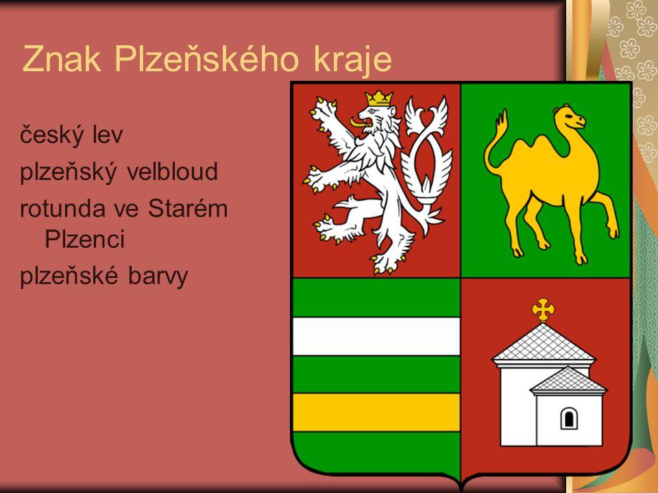 Znak Plzeňského kraje český lev plzeňský velbloud rotunda ve Starém Plzenci plzeňské barvy