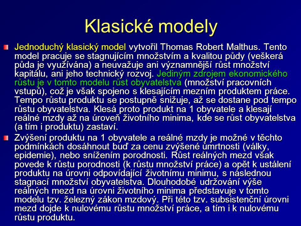 Neoklasický model Neoklasický model hospodářského růstu Roberta Sollowa zohledňuje existenci výrobního faktoru kapitál, a předpokládá zároveň možnost jeho neomezené kombinace s prací.
