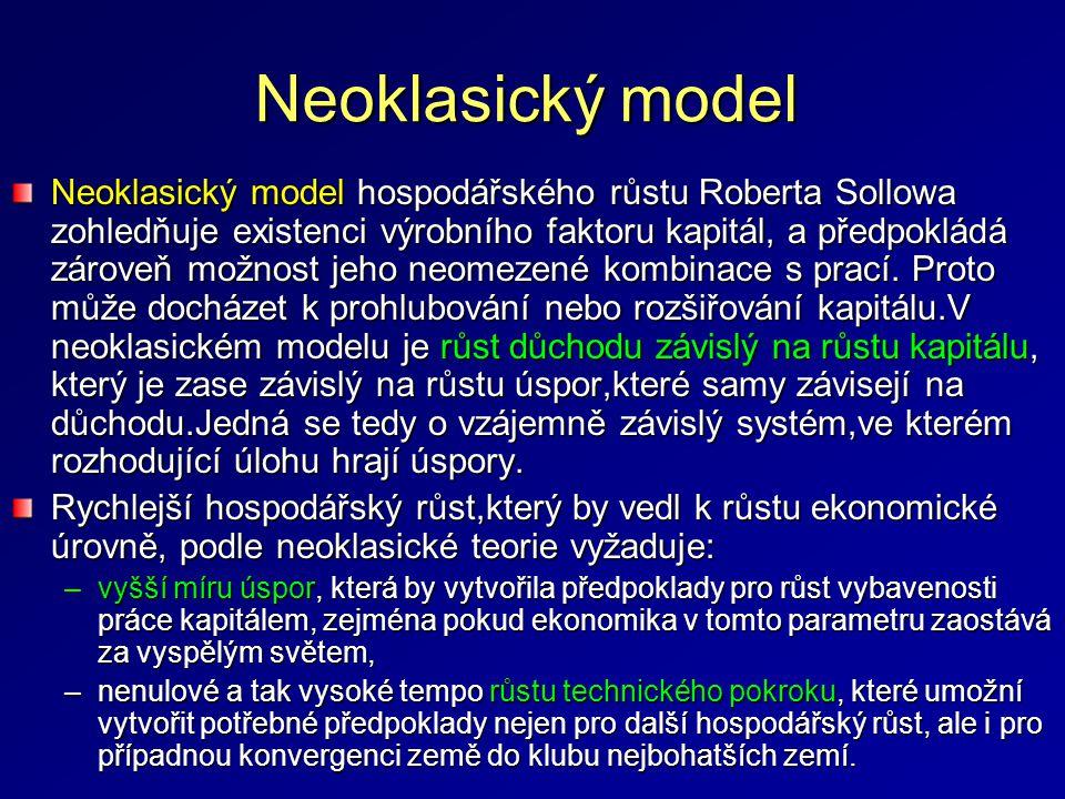Keynesiánské modely Hospodářský růst v neoklasickém modelu je spojen s permanentně vyčištěnými trhy VF, neboli s neustálou tzv.