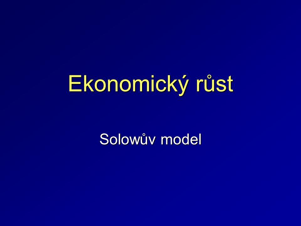 Sollowův model Sollowův model ekonomického růstu je jedním z prvních modelů svého druhu a ačkoliv není příliš naplněn realistickými předpoklady tvoří základ pro další růstové modely.