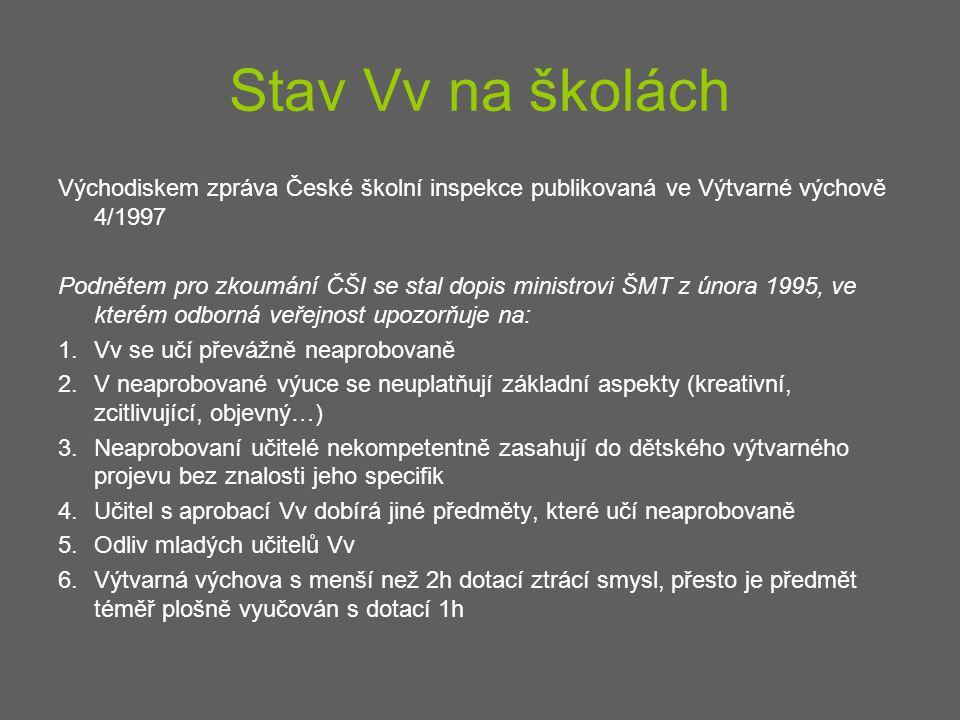 Stav Vv na školách Východiskem zpráva České školní inspekce publikovaná ve Výtvarné výchově 4/1997 Podnětem pro zkoumání ČŠI se stal dopis ministrovi
