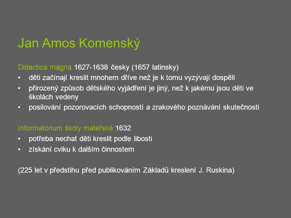 Jan Amos Komenský Didactica magna 1627-1638 česky (1657 latinsky) děti začínají kreslit mnohem dříve než je k tomu vyzývají dospělí přirozený způsob d