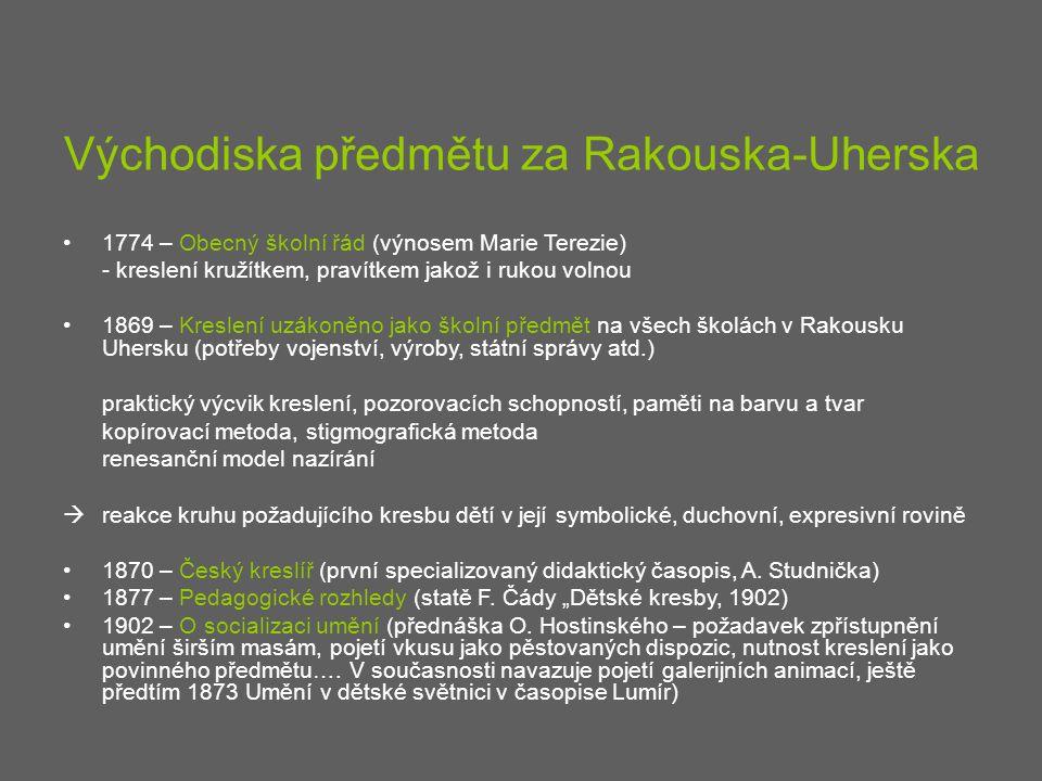 Východiska předmětu za Rakouska-Uherska 1774 – Obecný školní řád (výnosem Marie Terezie) - kreslení kružítkem, pravítkem jakož i rukou volnou 1869 – K