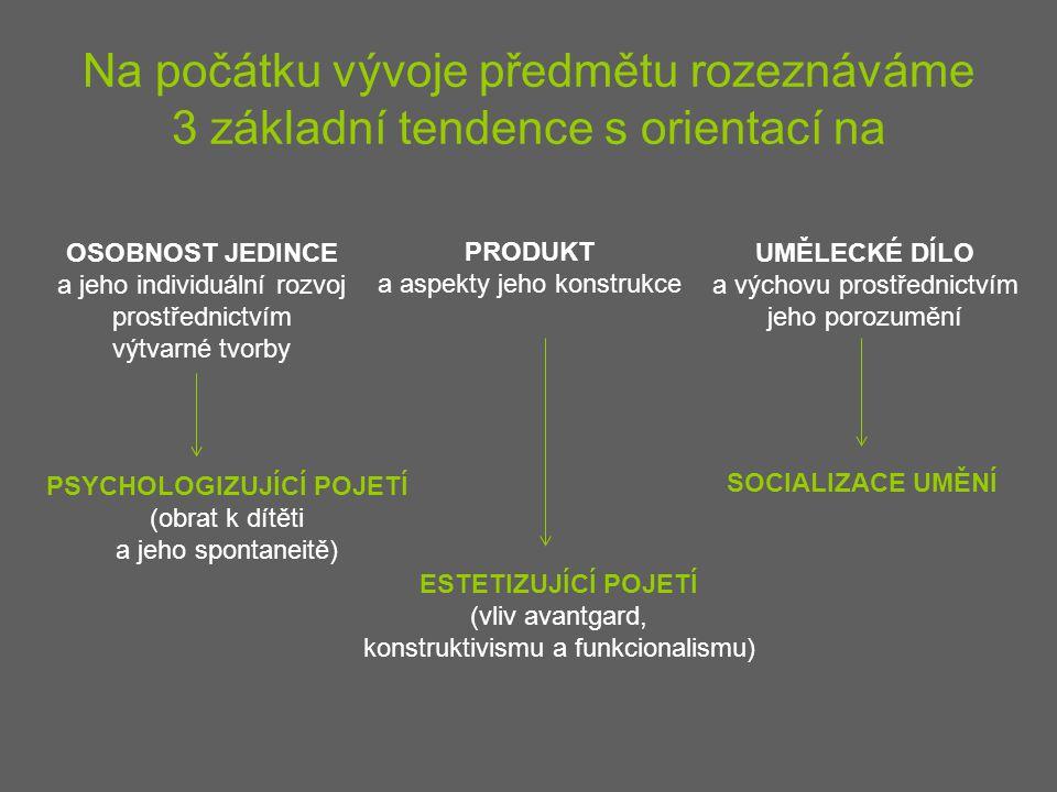 Na počátku vývoje předmětu rozeznáváme 3 základní tendence s orientací na OSOBNOST JEDINCE a jeho individuální rozvoj prostřednictvím výtvarné tvorby