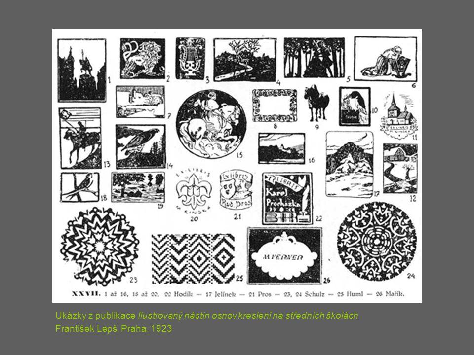 Ukázky z publikace Ilustrovaný nástin osnov kreslení na středních školách František Lepš, Praha, 1923