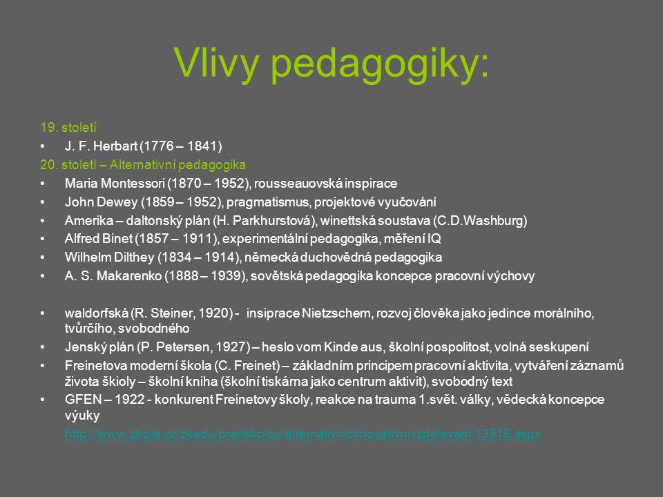 Vlivy pedagogiky: 19. století J. F. Herbart (1776 – 1841) 20. století – Alternativní pedagogika Maria Montessori (1870 – 1952), rousseauovská inspirac