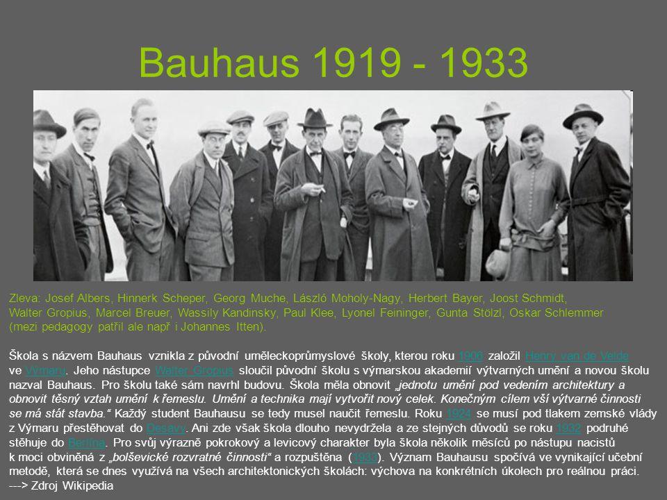 Bauhaus 1919 - 1933 Zleva: Josef Albers, Hinnerk Scheper, Georg Muche, László Moholy-Nagy, Herbert Bayer, Joost Schmidt, Walter Gropius, Marcel Breuer