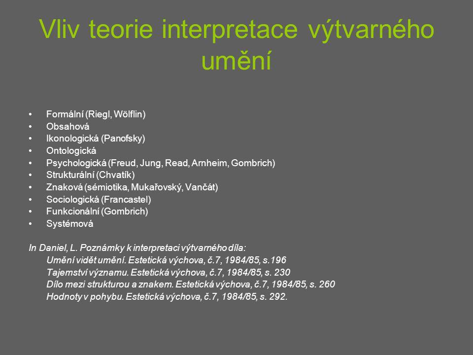 Vliv teorie interpretace výtvarného umění Formální (Riegl, Wölflin) Obsahová Ikonologická (Panofsky) Ontologická Psychologická (Freud, Jung, Read, Arn