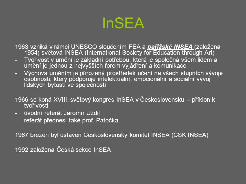 InSEA 1963 vzniká v rámci UNESCO sloučením FEA a pařížské INSEA (založena 1954) světová INSEA (International Society for Education through Art) -Tvoři