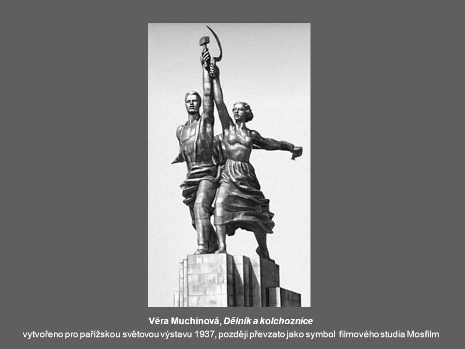 Věra Muchinová, Dělník a kolchoznice vytvořeno pro pařížskou světovou výstavu 1937, později převzato jako symbol filmového studia Mosfilm