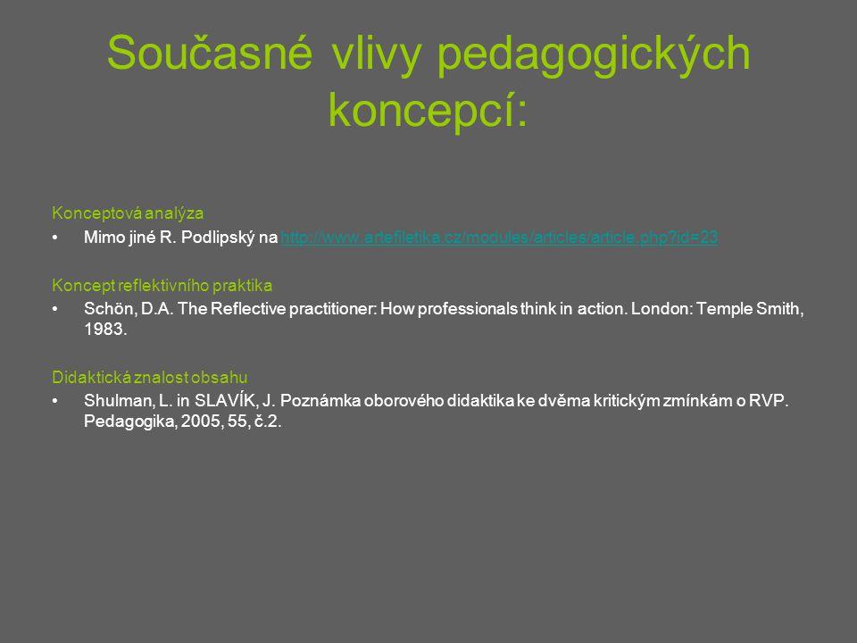 Současné vlivy pedagogických koncepcí: Konceptová analýza Mimo jiné R. Podlipský na http://www.artefiletika.cz/modules/articles/article.php?id=23http: