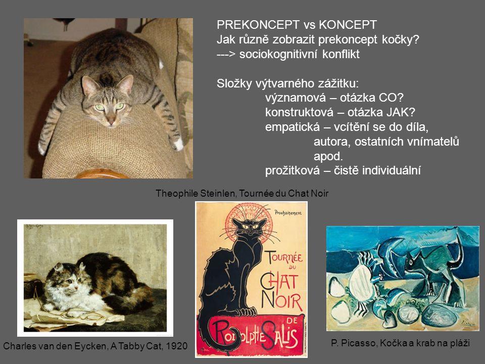 P. Picasso, Kočka a krab na pláži Theophile Steinlen, Tournée du Chat Noir Charles van den Eycken, A Tabby Cat, 1920 PREKONCEPT vs KONCEPT Jak různě z