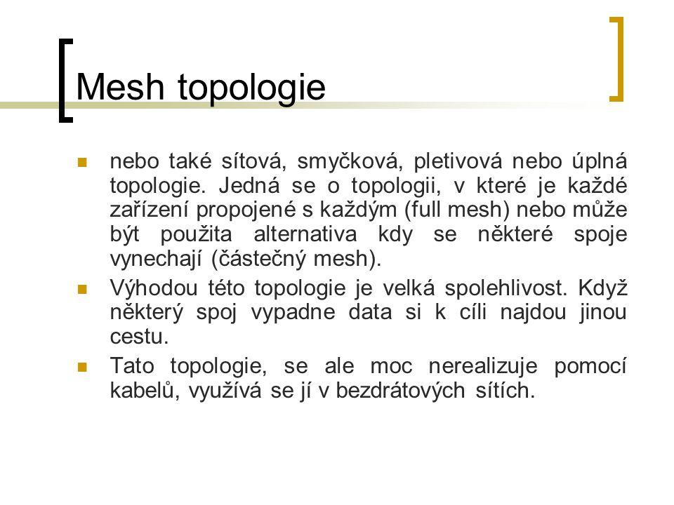 Mesh topologie nebo také sítová, smyčková, pletivová nebo úplná topologie. Jedná se o topologii, v které je každé zařízení propojené s každým (full me