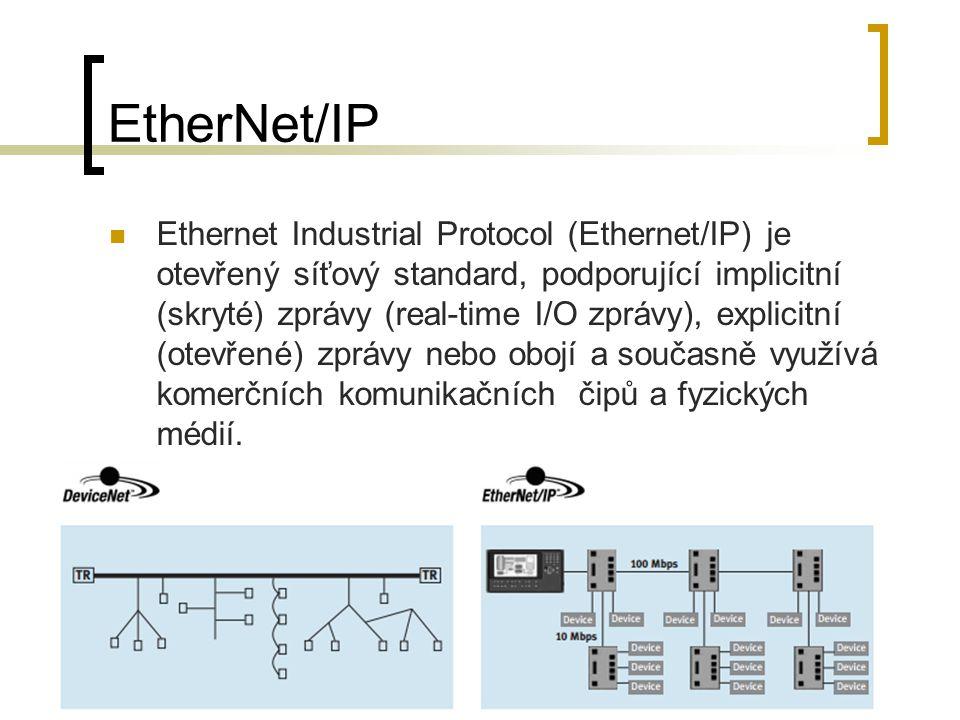 EtherNet/IP Ethernet Industrial Protocol (Ethernet/IP) je otevřený síťový standard, podporující implicitní (skryté) zprávy (real-time I/O zprávy), explicitní (otevřené) zprávy nebo obojí a současně využívá komerčních komunikačních čipů a fyzických médií.