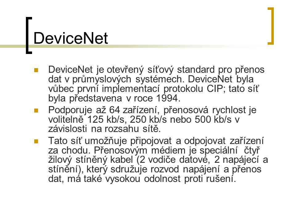 DeviceNet DeviceNet je otevřený síťový standard pro přenos dat v průmyslových systémech. DeviceNet byla vůbec první implementací protokolu CIP; tato s