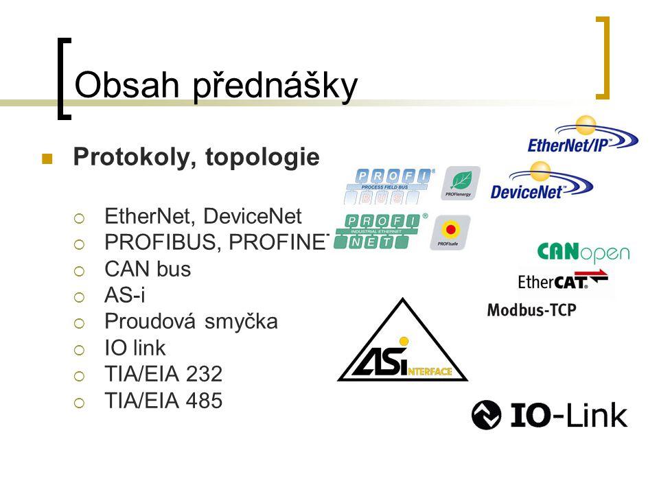 Obsah přednášky Protokoly, topologie  EtherNet, DeviceNet  PROFIBUS, PROFINET  CAN bus  AS-i  Proudová smyčka  IO link  TIA/EIA 232  TIA/EIA 4
