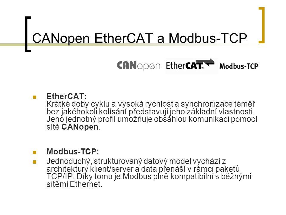 CANopen EtherCAT a Modbus-TCP EtherCAT: Krátké doby cyklu a vysoká rychlost a synchronizace téměř bez jakéhokoli kolísání představují jeho základní vlastnosti.