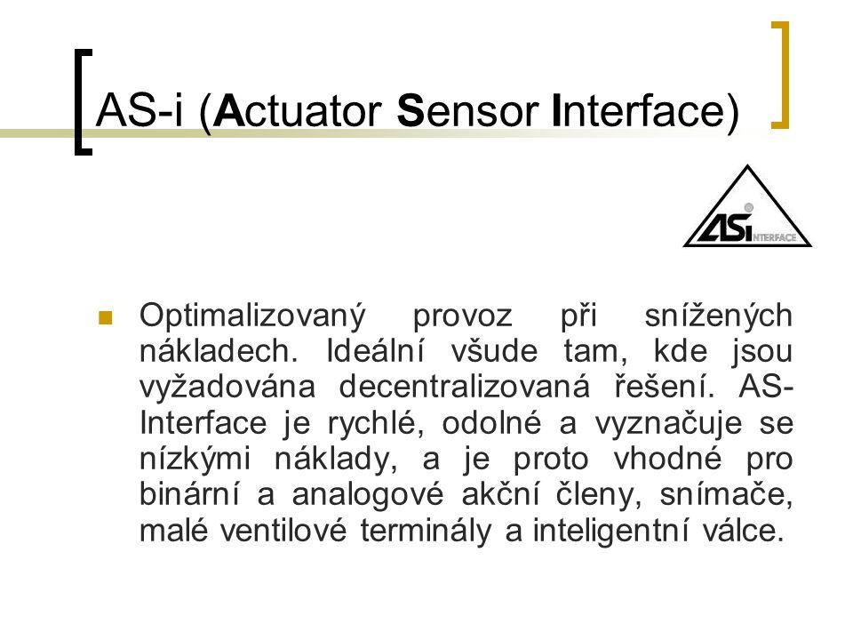 AS-i (Actuator Sensor Interface) Optimalizovaný provoz při snížených nákladech. Ideální všude tam, kde jsou vyžadována decentralizovaná řešení. AS- In