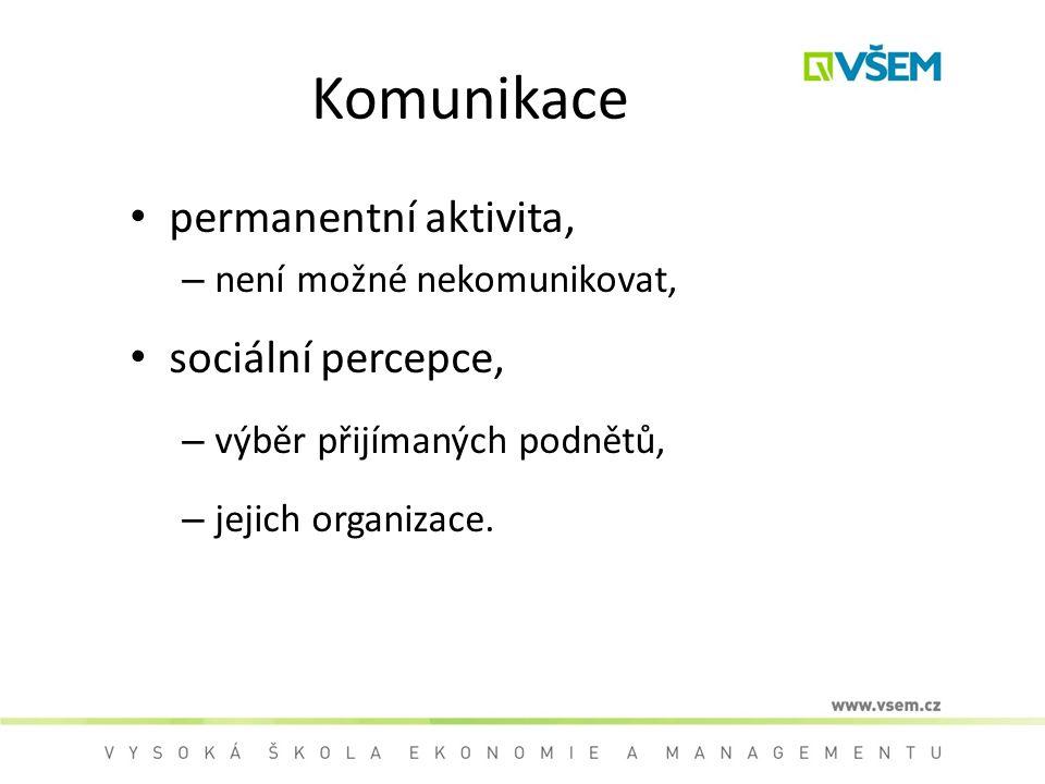 Komunikace permanentní aktivita, – není možné nekomunikovat, sociální percepce, – výběr přijímaných podnětů, – jejich organizace.