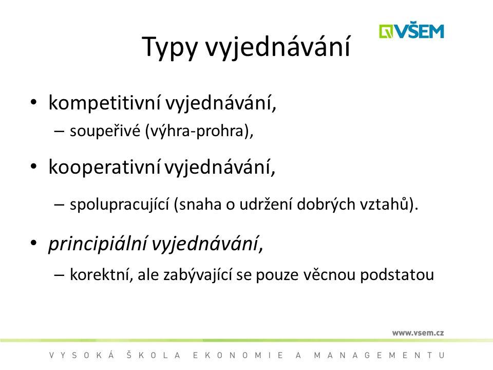 Typy vyjednávání kompetitivní vyjednávání, – soupeřivé (výhra-prohra), kooperativní vyjednávání, – spolupracující (snaha o udržení dobrých vztahů).