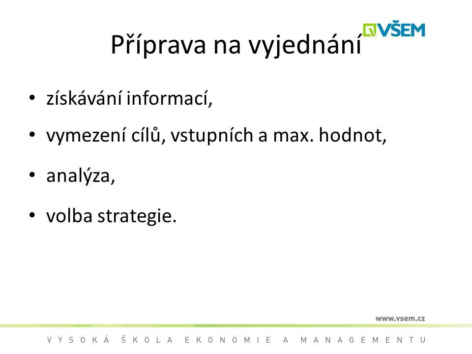 Příprava na vyjednání získávání informací, vymezení cílů, vstupních a max.