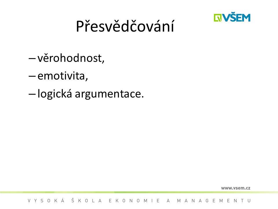 Přesvědčování – věrohodnost, – emotivita, – logická argumentace.