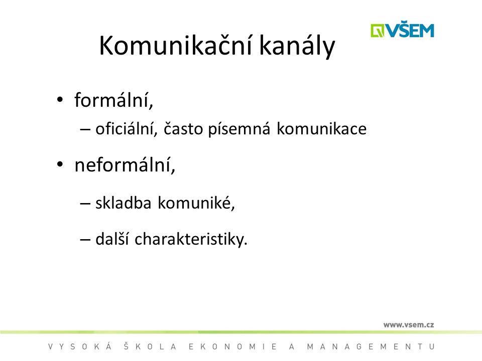 Komunikační kanály formální, – oficiální, často písemná komunikace neformální, – skladba komuniké, – další charakteristiky.