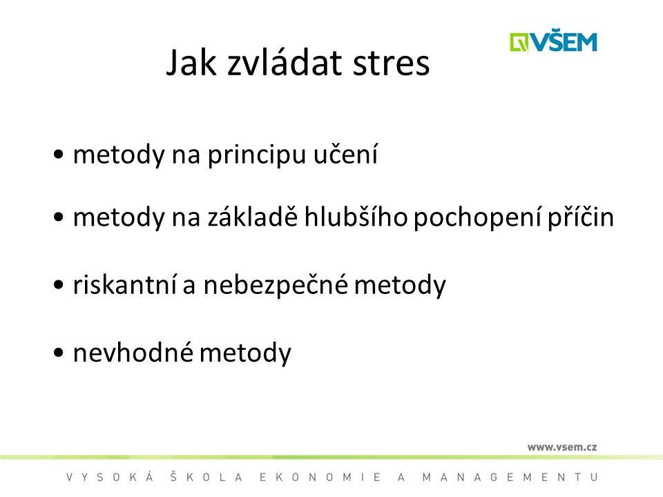 Jak zvládat stres metody na principu učení metody na základě hlubšího pochopení příčin riskantní a nebezpečné metody nevhodné metody