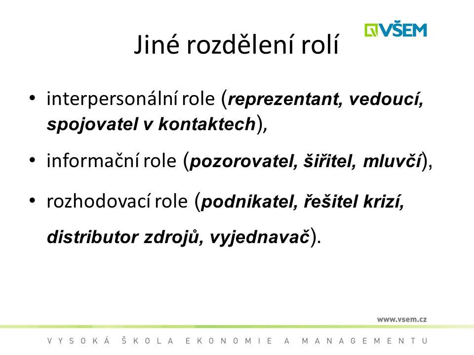 Jiné rozdělení rolí interpersonální role ( reprezentant, vedoucí, spojovatel v kontaktech ), informační role ( pozorovatel, šiřitel, mluvčí ), rozhodovací role ( podnikatel, řešitel krizí, distributor zdrojů, vyjednavač ).