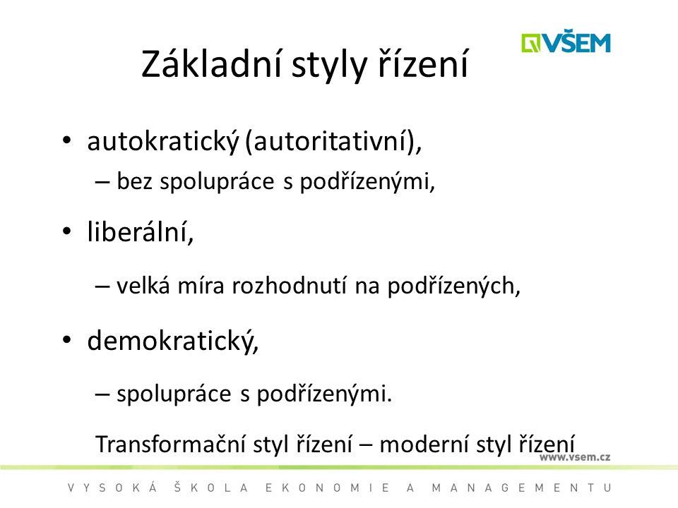 Základní styly řízení autokratický (autoritativní), – bez spolupráce s podřízenými, liberální, – velká míra rozhodnutí na podřízených, demokratický, – spolupráce s podřízenými.