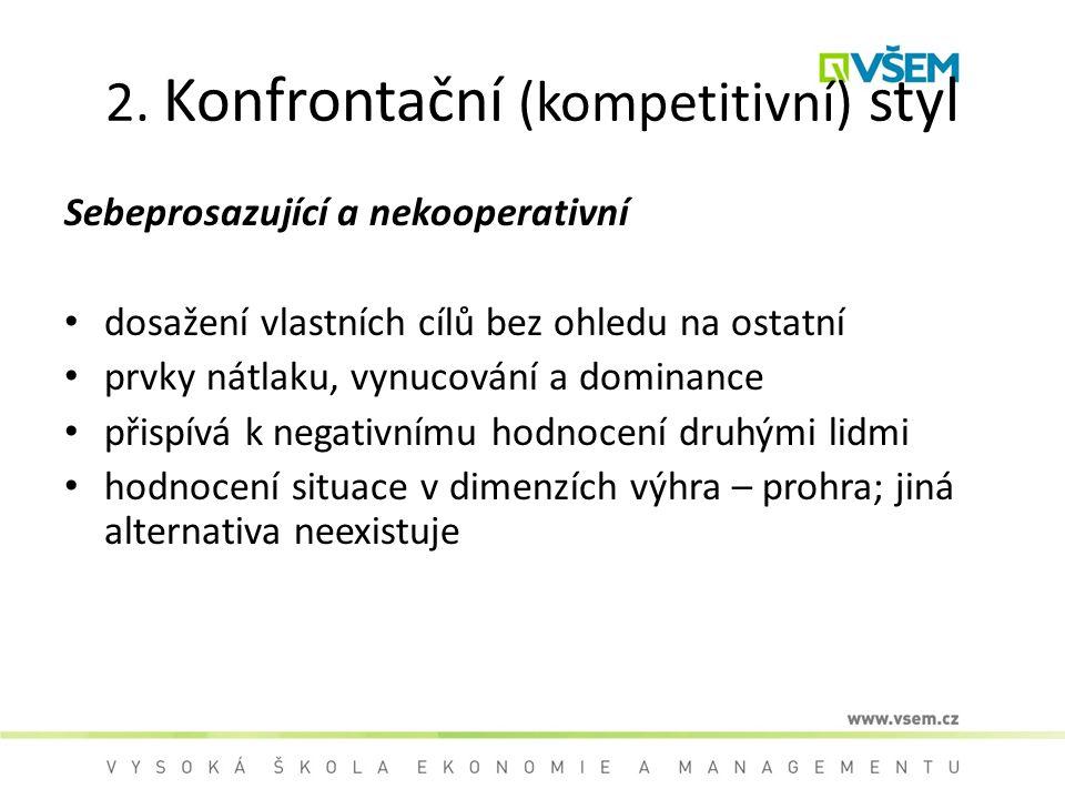 2. Konfrontační (kompetitivní) styl Sebeprosazující a nekooperativní dosažení vlastních cílů bez ohledu na ostatní prvky nátlaku, vynucování a dominan