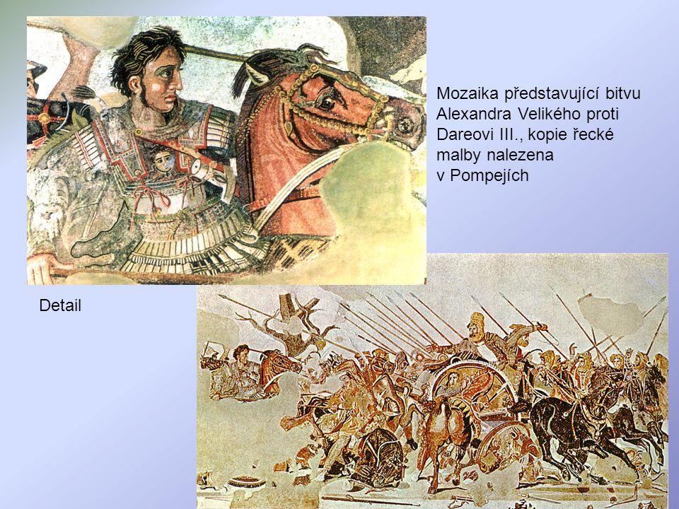 Mozaika představující bitvu Alexandra Velikého proti Dareovi III., kopie řecké malby nalezena v Pompejích Detail