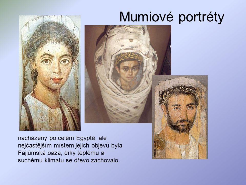 Mumiové portréty nacházeny po celém Egyptě, ale nejčastějším místem jejich objevů byla Fajjúmská oáza, díky teplému a suchému klimatu se dřevo zachova
