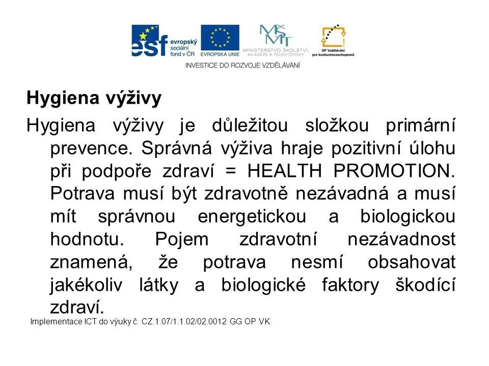 Hygiena výživy Hygiena výživy je důležitou složkou primární prevence.