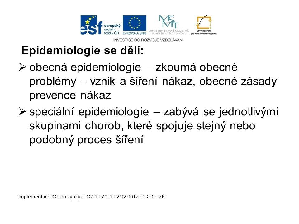 Epidemiologie se dělí:  obecná epidemiologie – zkoumá obecné problémy – vznik a šíření nákaz, obecné zásady prevence nákaz  speciální epidemiologie – zabývá se jednotlivými skupinami chorob, které spojuje stejný nebo podobný proces šíření Implementace ICT do výuky č.
