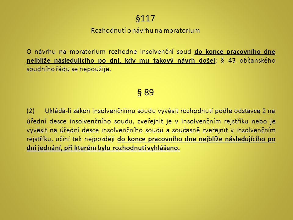 §117 Rozhodnutí o návrhu na moratorium O návrhu na moratorium rozhodne insolvenční soud do konce pracovního dne nejblíže následujícího po dni, kdy mu